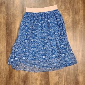 LuLaRoe Blue Lace Feminie Skirt small